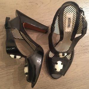 Moschino block patent heels